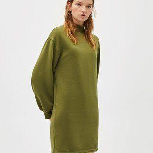 Bershka Army Green Turtleneck Sweater Dress